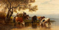 Fine Art - Painting, European:Antique  (Pre 1900), CHRISTIAN FRIEDRICH MALI (German, 1832-1906). Landscape withPeasants and Cattle, 1880. Oil on canvas. 26 x 50 inches (6...
