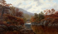 Fine Art - Painting, European:Modern  (1900 1949)  , WILLIAM MELLOR (British, 1851-1931). A View ofPont-y-Aberglaslyn, Wales. Oil on canvas. 30 x 50-1/2 inches(76.2 x 128....
