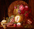 Fine Art - Painting, European:Antique  (Pre 1900), EMILY STANNARD (British, 1803-1885). Chrysanthemums, Fruits and Plate. Oil on canvas. 20-1/4 x 24-1/4 inches (51.4 x 61....