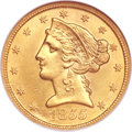 Liberty Half Eagles, 1855-S $5 MS61 NGC....