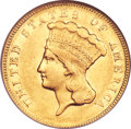Three Dollar Gold Pieces, 1873 $3 Closed 3 AU53 NGC....