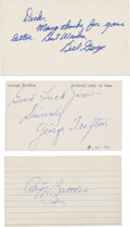 Football Collectibles:Others, Football Hall of Famers Single Signed Index Card and Government Postcard Lot of 3....