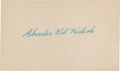 Baseball Collectibles:Others, Kid Nichols Signed Index Card....