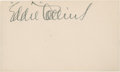 Baseball Collectibles:Others, Eddie Collins Signed Index Card....