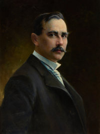 HENRY AUGUST SCHWABE (American, 1843-1916) Portrait of Charles Schreyvogel Oil on canvas 19-1/2 x