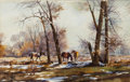Works on Paper, VALOY EATON (American, b. 1938). First Snow, 1982. Watercolor on paper. 12 x 18 inches (30.5 x 45.7 cm). Signed and date...