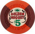 Miscellaneous:Gaming Chips, Golden Nugget $5 Las Vegas Casino Chip, Eighth Issue, R-9, Circa 1960....