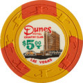 Miscellaneous:Gaming Chips, Dunes $5 Las Vegas Casino Chip, Eighth Issue, R-8, Circa 1966....