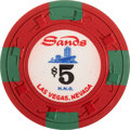 Miscellaneous:Gaming Chips, Sands $5 Las Vegas Casino Chip, Twelfth Issue, R-7, Circa 1967....