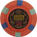 Miscellaneous:Gaming Chips, Golden Nugget $25 Las Vegas Casino Chip, Sixth Issue, R-10, Circa1950s....