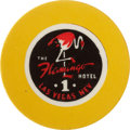 Miscellaneous:Gaming Chips, Flamingo 1 Las Vegas Roulette Chip, Fourth Issue, R-8, Circa 1950s....