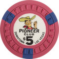 Miscellaneous:Gaming Chips, Pioneer Club $5 Las Vegas Casino Chip, Seventh Issue, R-5, Circa1950s....