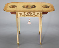 A GEORGE III PAINTED, CARVED AND GILT PEMBROKE TABLE Attributed to George Brookshaw, London, England, circa 1788<...