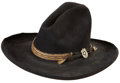 "Western Expansion:Cowboy, Western Americana: Stetson Felt Western Hat with a Braided HorseHair Band and ""Shield and Star"" Badge...."