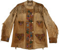 Western Expansion:Cowboy, Wonderful Beaded and Fringed Buckskin Jacket, Circa 1890 - 1910....