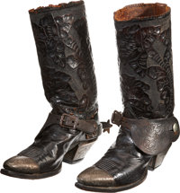 Western Americana: Vintage Tooled Leather Cowboy Boots with Etched Silver Mounts and Steel Spurs, Probably Circa 1890s.&...