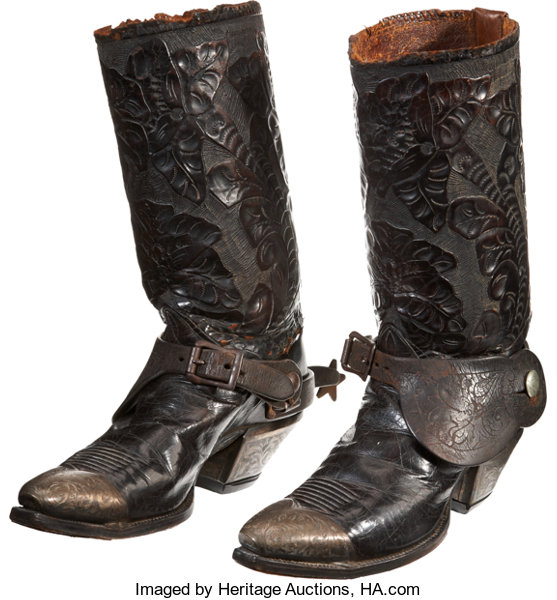812914e8fbc Western Americana: Vintage Tooled Leather Cowboy Boots with Etched ...