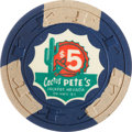 Miscellaneous:Gaming Chips, Cactus Pete's $5 Jackpot, Nevada Casino Chip, Second Issue, R-7,Circa 1960....
