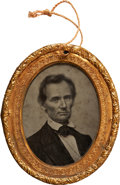 Political:Ferrotypes / Photo Badges (pre-1896), Abraham Lincoln: Sought After Large Ambrotype Portrait Badge from the 1860 Campaign. ...