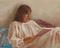 Fine Art - Painting, American:Contemporary   (1950 to present)  , AMERICAN SCHOOL (20th Century). Woman Reading, 1985. Oil onmasonite. 8 x 10 inches (20.3 x 25.4 cm). Signed indistinctl...