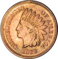 Proof Indian Cents, 1869 Indian Cent PR65 Red and Brown NGC....