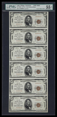 Lake Village, AR - $5 1929 Ty. 1 The First NB Ch. # 13632 Uncut Sheet