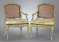 Furniture : French, A SET OF FOUR LOUIS XV PAINTED ARMCHAIRS . Probably Paris, France,circa 1750-1760. Unmarked. 36-1/2 x 24-1/2 x 21 inches (9...(Total: 4 Items)
