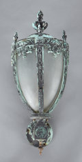 Lighting:Sconces, A PAINTED METAL AND GLASS WALL LANTERN . American, 20th Century. Unmarked. 29 x 12-1/2 x 14-1/2 inches (73.7 x 31.8 x 36.8 c...