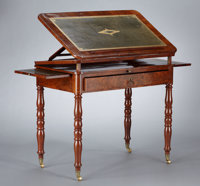 A GEORGE IV MAHOGANY ARCHITECT'S TABLE probably London, England, circa 1825-1830 Unmarked 30-1/2 x 34-3/4 x