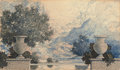 Paintings, MAXFIELD PARRISH (American, 1870-1966). Landscape and Urns. Colored pencil and ink on paper. 3 x 5.25 in.. Not signed. ...