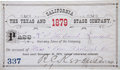 "Miscellaneous:Ephemera, Stage Coach Pass: 1879 ""Texas and California Stage Company"" AnnualPass. ..."