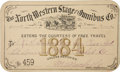 """Miscellaneous:Ephemera, Stage Coach Pass: 1884 """"The North Western Stage and Omnibus Co.""""Annual Pass...."""