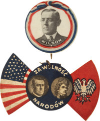"""Woodrow Wilson: Two Nice 7/8"""" Celluloids"""