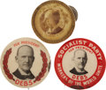 Political:Pinback Buttons (1896-present), Eugene V. Debs; Three Different Portrait Celluloids. ... (Total: 3 Items)
