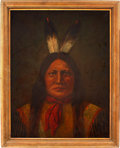 Antiques:Decorative Americana, Rain in the Face: Matching Paul Warner Oil of the Famed SiouxChief....