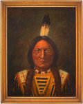 Antiques:Decorative Americana, Sitting Bull: 1923-Dated Oil on Canvas Portrait by Paul Warner. ...