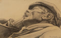 Fine Art - Work on Paper:Drawing, CARL LINK (American, 1887-1968). Dozing Man. Pencil onpaper. 5 x 7-1/2 inches (12.7 x 19.1 cm). Signed lower right:C...