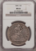 Seated Dollars: , 1845 $1 MS61 NGC. NGC Census: (7/8). PCGS Population (4/8).Mintage: 24,500. Numismedia Wsl. Price for problem free NGC/PCG...