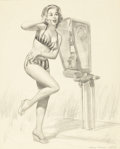 Pin-up and Glamour Art, HARRY EKMAN (American, 1923-1999). A Terrific Number, pencilpreliminary. Graphite on vellum. 21 x 17 in.. Signed lower ...