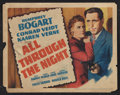 "Movie Posters:Action, All Through the Night (Warner Brothers, 1942). Title Lobby Card(11"" X 14""). Action.. ..."