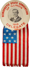 """Political:Pinback Buttons (1896-present), Woodrow Wilson: Dramatic 1¾"""" 1916-Dated Rarity from Illinois...."""
