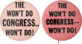 Political:Pinback Buttons (1896-present), Harry S Truman: Two Scarce 1948 Pro-Truman Slogan Buttons.... (Total: 2 Items)