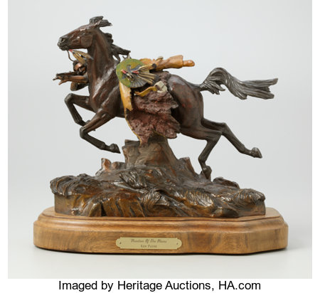 KEN PAYNE (American, b. 1938) Phantom of the Plains, 1999 Bronze with patina and paint 13 x 14 x 8 inches (33.0 x 35....
