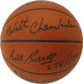 Basketball Collectibles:Balls, Wilt Chamberlain and Bill Russell Dual-Signed Basketball. The toptwo centers in the game's history have each checked in on...
