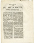 Books:Pamphlets & Tracts, [Abraham Lincoln] A fine set of imprints including a rare editionof Lincoln's reply to Stephen Douglas dated June 26, 1857 re...(Total: 2 Item)