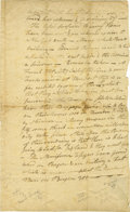 Military & Patriotic:Revolutionary War, American Revolution: The arrival of Rochembeau's army at Newport,Rhode Island. An extraordinary manuscript letter, one page...