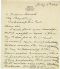 "Autographs:U.S. Presidents, Former First Lady Edith Roosevelt Autograph Letter Signed,""Edith K. Roosevelt,"" one page, 6"" x 7"", Brooklyn,Connecticu..."