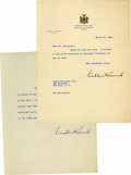 Autographs:U.S. Presidents, Franklin D. Roosevelt as Governor Typed Letter Signed and DocumentSigned, as follows: TLS, one page on NY Executive Mansion...(Total: 2 Items)