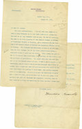 """Autographs:U.S. Presidents, Theodore Roosevelt Typed Letter Signed as President. Two Pages, 8""""x 10"""" on White House letterhead, marked """"Confidential..."""