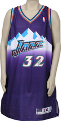 Basketball Collectibles:Others, Karl Malone Double Signed Jersey. Two-time NBA MVP Karl Malone hasprovided this fantastic team-issued Utah Jazz jersey fro...